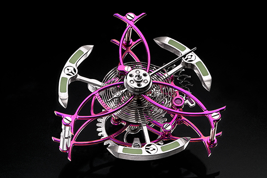 Titanium Anodizing table clock three-axis tourbillon